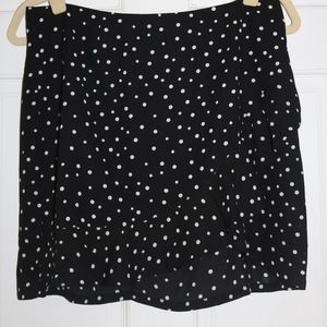 black polka dot asymmetrical skirt with ruffle